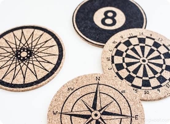 DIY Home Decor ~ Jazz up a set of plain cork coasters with a Sharpie!