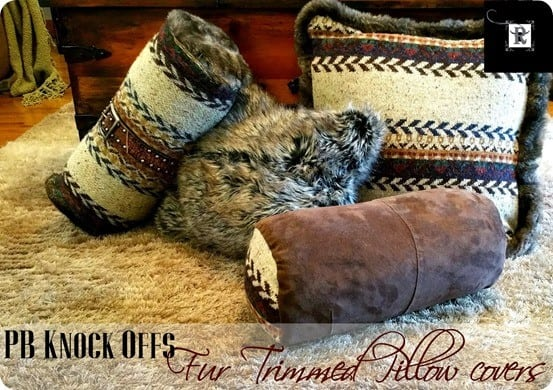 DIY Home Decor ~ These four Pottery Barn knock of pillows were made for under $10 using repurposed fabric from clothing!