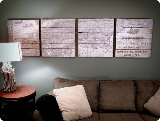 DIY Wall Art ~ Find out how to make your own oversized map of New York just like Pottery Barn's using your printer and a pallet!