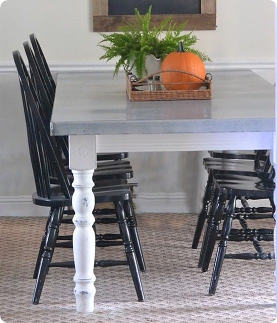 Dining Table Makeover with Zinc Tabletop