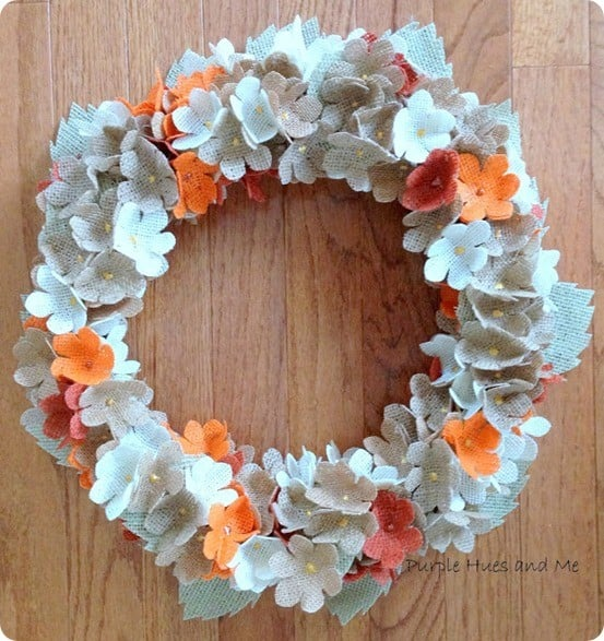 DIY Crafts | Burlap Hydrangea Flowers Wreath ~ Make this pretty wreath with burlap and a flower punch!