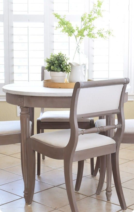 Painted Furniture ~ Find out how to use milk paint to give an old table a gorgeous Restoration Hardware inspired finish in five steps!