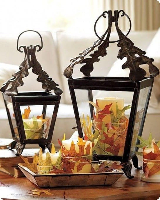 Pottery Barn Candles with Oak Leaves