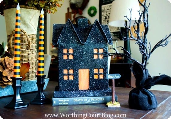 DIY Halloween Decorations | Add a little sparkle to your Halloween decor with this glitter haunted house inspired by Pottery Barn!