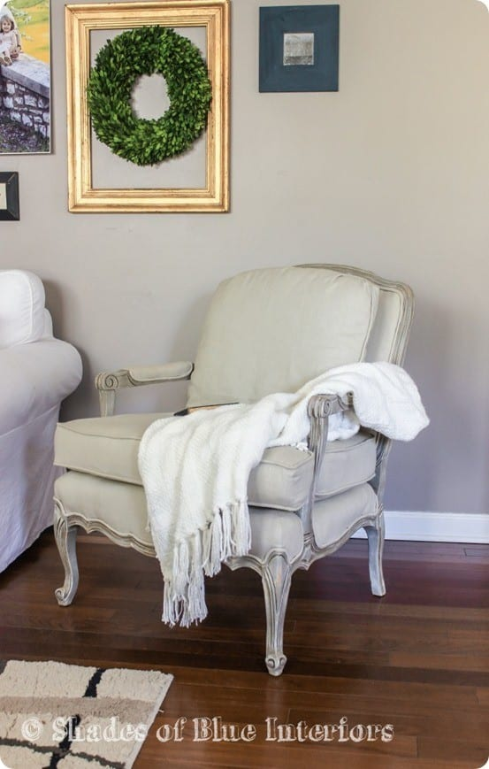Restoration Hardware Knock Off French Chair | These chairs are a true story of trash to treasure. They started with old, ripped fabric but were reuphostered with natural linen and a weathered gray frame!