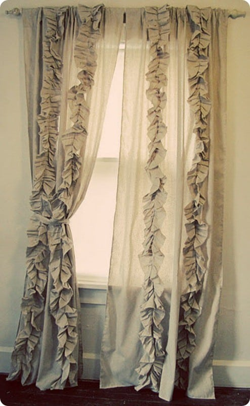 DIY Ruffled Curtains | Sew your own ruffled curtains just like Anthropologie's but for less than $50 a set with this tutorial!
