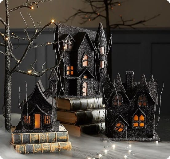 Spooky Glitter Luminary Houses from Pottery Barn