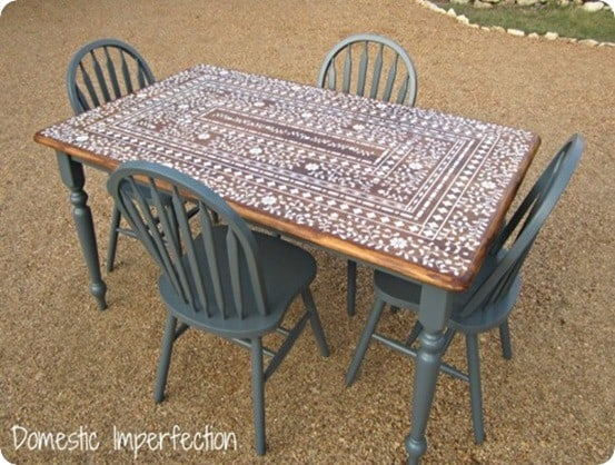 Marvelous Stenciled Indian Inlay Table Kitchen