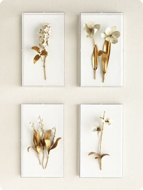 Tommy Mitchell Gilded Flower Studies in Acrylic from Horchow