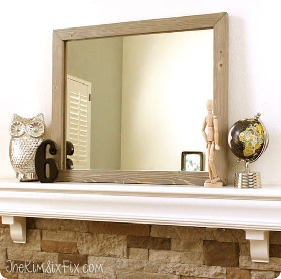 DIY Wood Projects ~ Build this West Elm knock off framed mirror using tongue and groove flooring boards! All you need is a circular saw and Kreg Jig!