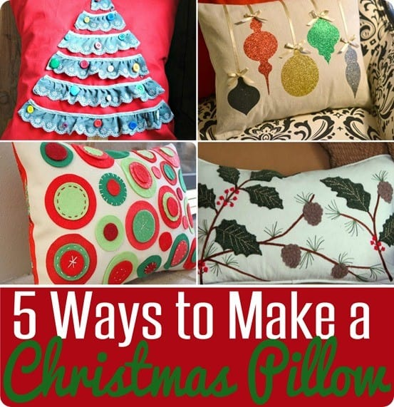 5 Ways to Make a Christmas Pillow ~ Check out these five DIY tutorials to make pretty Christmas pillows that were inspired by high end stores like Pottery Barn and Ballard Designs!