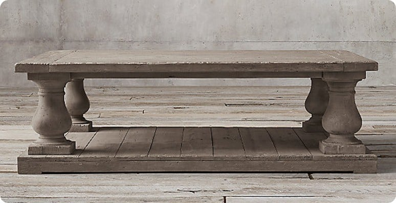 Balustrade Salvaged Wood Coffee Table from Restoration Hardware