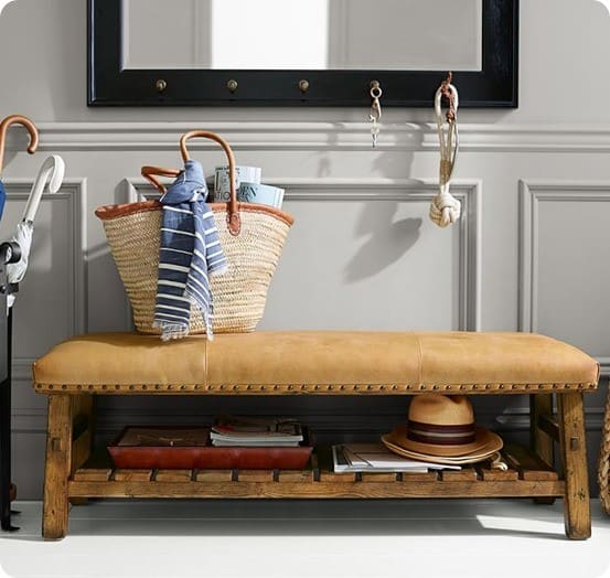 Caden Leather Bench from Pottery Barn