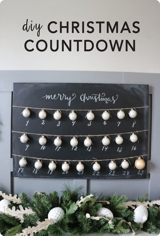 Christmas Countdown ~ Add ribbon or string with ornaments to a chalkboard to turn it into a simple Christmas countdown! {Ballard Designs knock off}