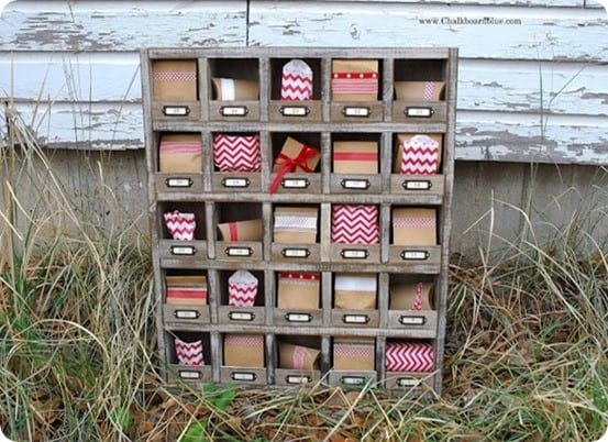 DIY Christmas Countdown ~ A cubby shelf is perfect for seasonal decorating throughout the year and makes an adorable advent for Christmas!