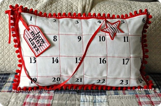 DIY Christmas Countdown ~ Make an advent on a pillow with a star that moves each day. {Pottery Barn knock off}