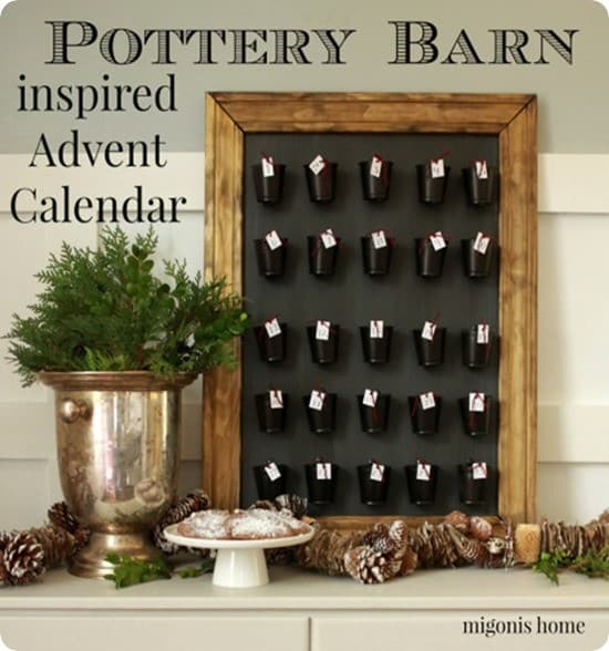 DIY Christmas Countdown ~ Use buckets from the dollar store to make a Pottery Barn knock off advent calendar.