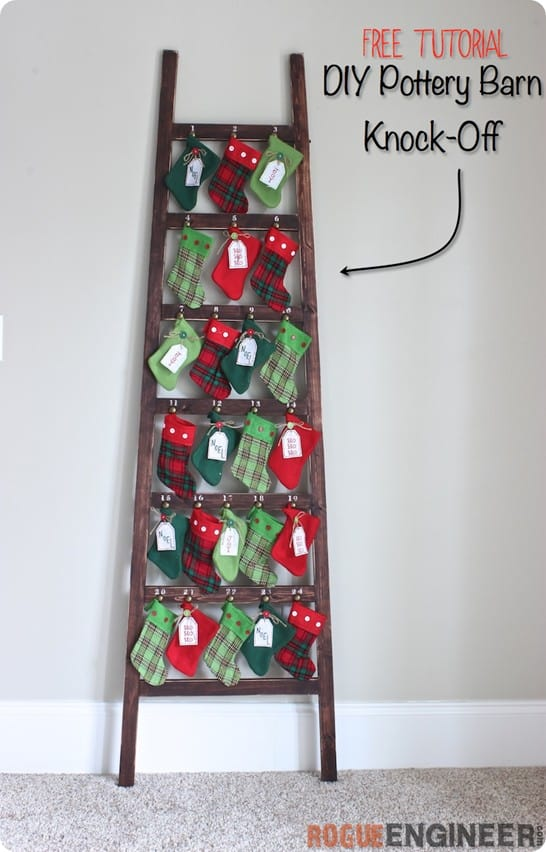 DIY Christmas Decorations ~ Build this Pottery Barn inspired ladder advent for less then $20 with these free woodworking plans!