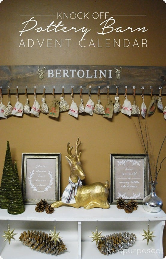 DIY Christmas Decorations ~ I absolutely adore this Pottery Barn knock off advent. All you need is a piece of wood and clothespins to make your own!