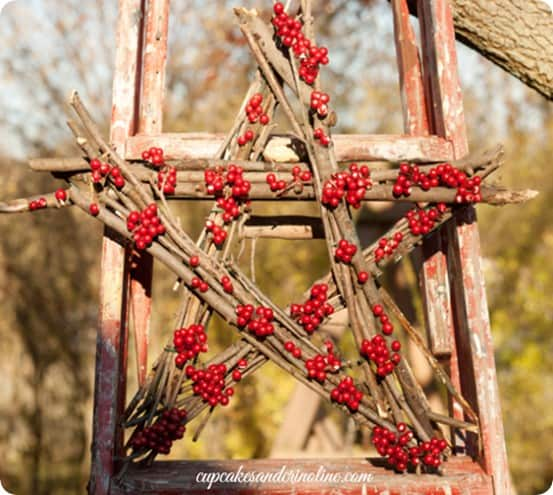 DIY Christmas Decorations ~ Make a berry and twig wreath using sticks from your own yard!