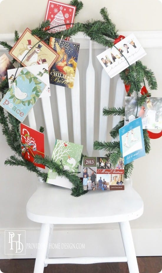 DIY Christmas Decorations ~ Make a wreath that doubles as a Christmas card display!