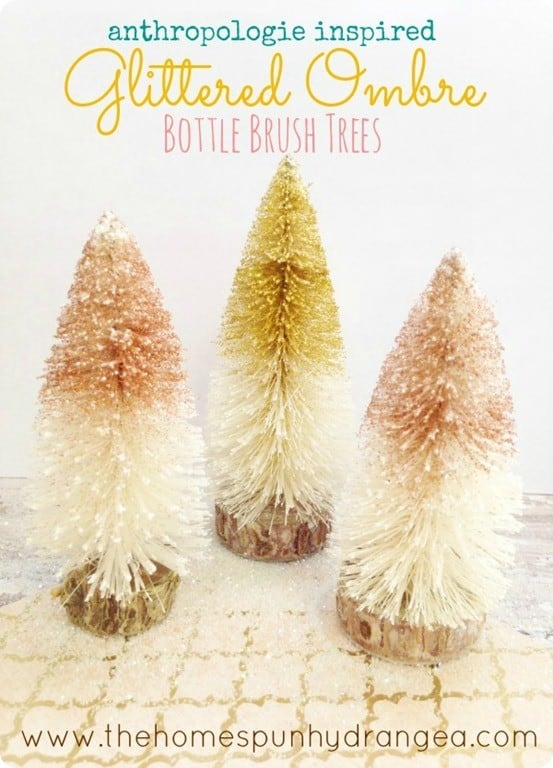 DIY Christmas Decorations ~ Make these Anthropologie inspired glitter bottle brush trees for only $3!