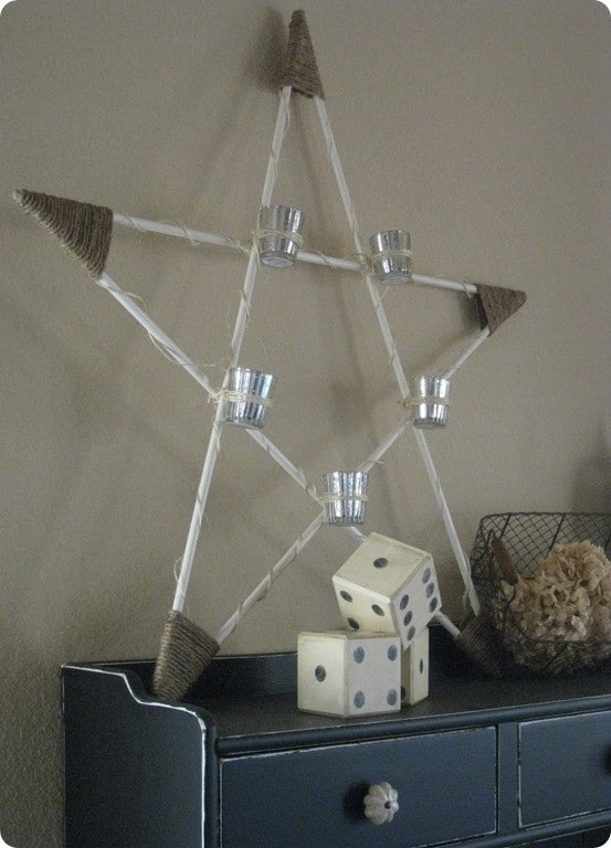DIY Christmas Decorations ~ Make this Pottery Barn knock off wood star votive holder for under $10!