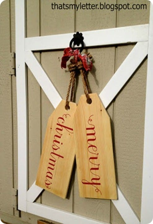 DIY Christmas Decorations ~ These wooden door tags are the perfect alternative to the traditional Christmas wreath!