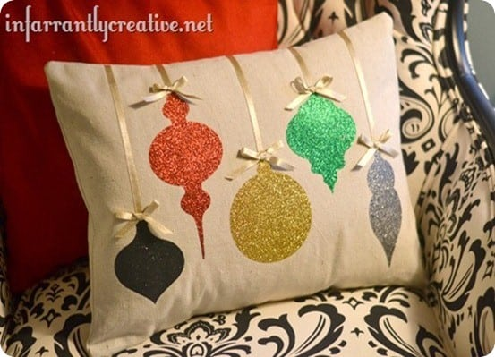 DIY Christmas Decorations ~ This Christmas ornament paper is simple to make using iron-on glitter paper. Lots of sparkle, no mess!