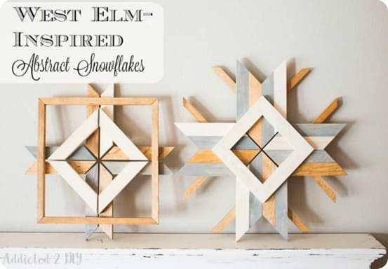 DIY Christmas Decorations ~ Turn your scrap wood into West Elm knock off snowflakes for virtually no cost!