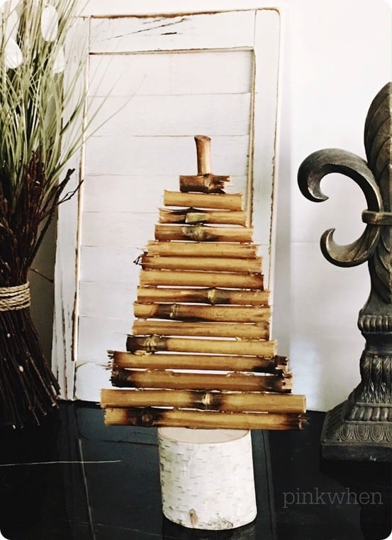 DIY Christmas Decorations ~ Use cut pieces of bamboo or driftwood to make a Pottery Barn inspired Christmas tree!