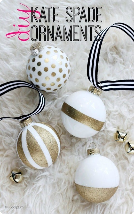 DIY Christmas Decorations ~ Use tape and glitter spray paint to make these Kate Spade inspired Christmas ornaments. Easy peasy!