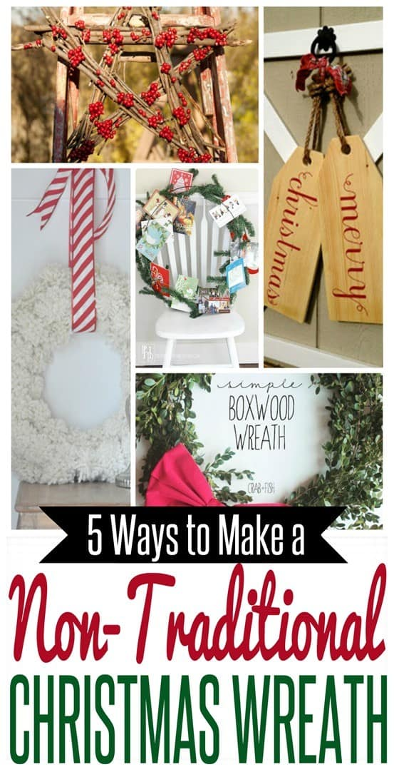 DIY Christmas Wreaths ~ Think outside the pine wreath this year with these five creative Christmas wreath crafts!