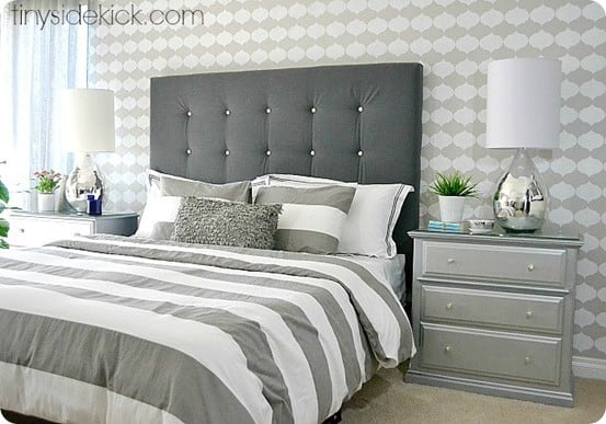 DIY Furniture ~ This tutorial shows the EASIEST way to make a tufted headboard using pegboard as backing. The holes are already there so it's simple to add buttons!