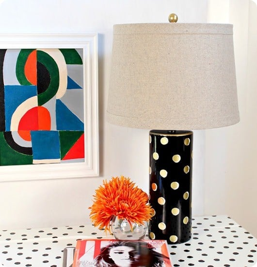 DIY Home Decor ~ Find how to make over a thrift store lamp in Kate Spade fashion with paint and gold foil dots from the office supply store! All for less than $25!