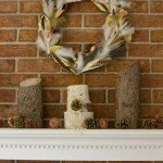 Metallic Leaf and Feather Wreath