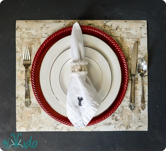 DIY Home Decor ~ Love this tip to use thick, pretty wrapping paper as placemats for your table!