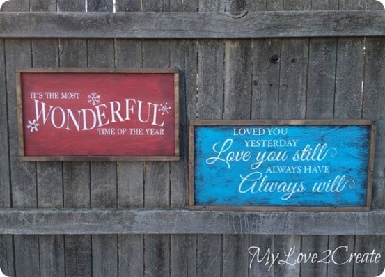 DIY Home Decor ~ Make a reversible sign that can remain up all year and then be flipped over for Christmas! {Pottery Barn knock off}