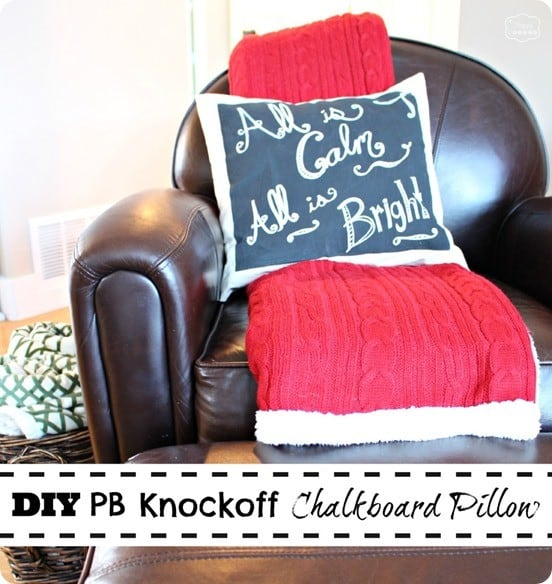 DIY Home Decor ~ Use drop cloth to make an inexpensive chalkboard pillow. You can change out the wording with a chalk pen for each new holiday or season.