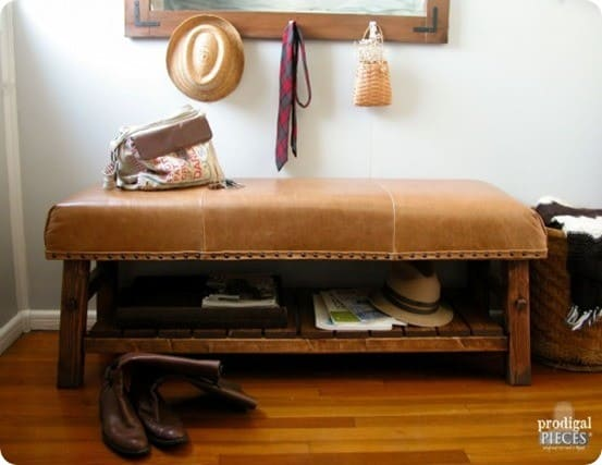 DIY Home Furniture ~ Find out how to build this beautiful leather upholstered bench inspired by Pottery Barn!