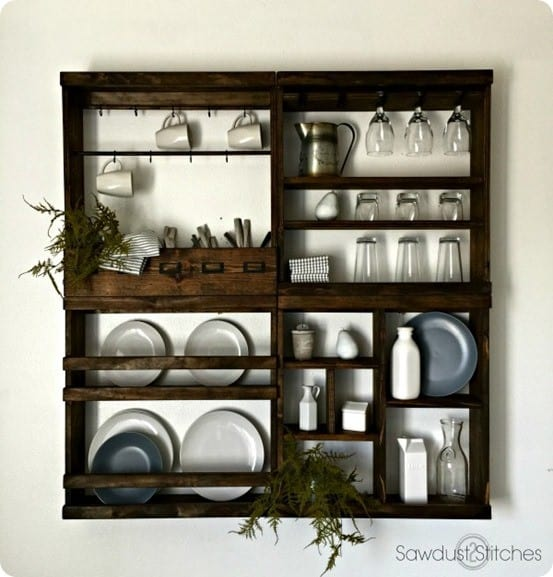 DIY Wood Projects ~ Add storage to your kitchen or dining room walls with the free woodworking plans for this Pottery Barn knock off modular shelving.