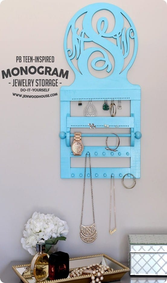 DIY Wood Projects ~ Get the free plans for this PB Teen inspired monogram jewelry storage!