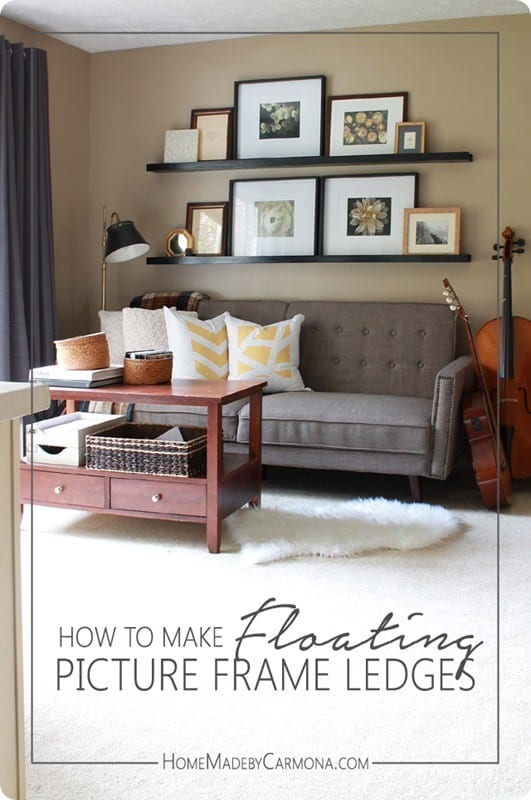 DIY Wood Projects ~ How to Make Floating Picture Frame Ledges