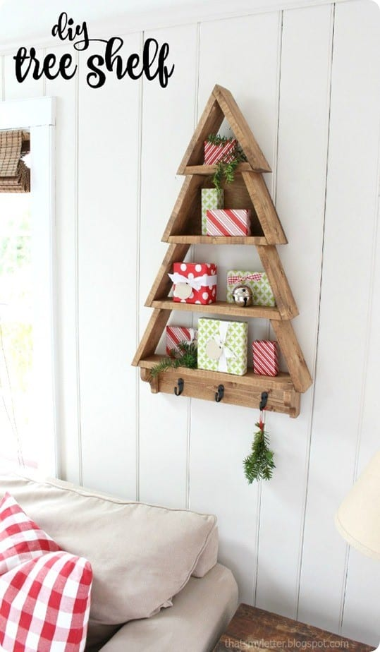 Wall Decor Christmas Diy : Christmas tree wall shelf