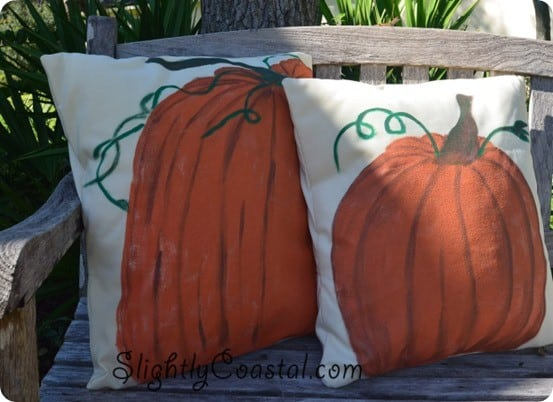 Fall Decorating ~ Buy inexpensive outdoor fabric and paint pumpkin pillows that look like Pottery Barn's but cost much less!