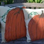 Outdoor Painted Pumpkin Pillows