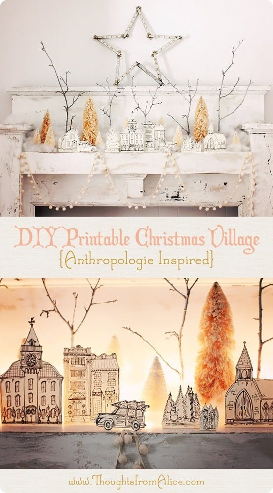Free Christmas Printables ~ Get the free download of this lovely hand drawn Christmas village inspired by Anthropologie. Beautiful!