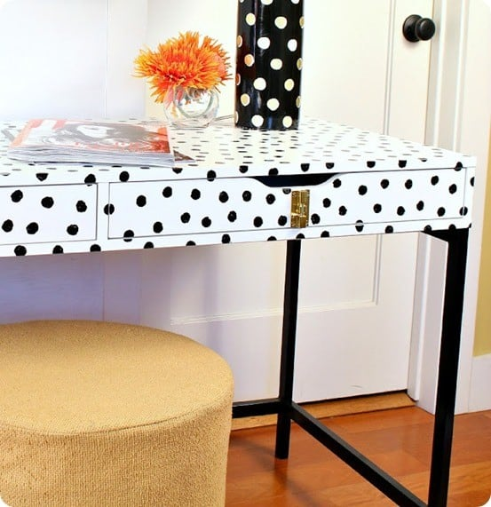 Painted Furniture ~ Turn an Ikea desk into a Kate Spade look-a-like with paint and new hardware.
