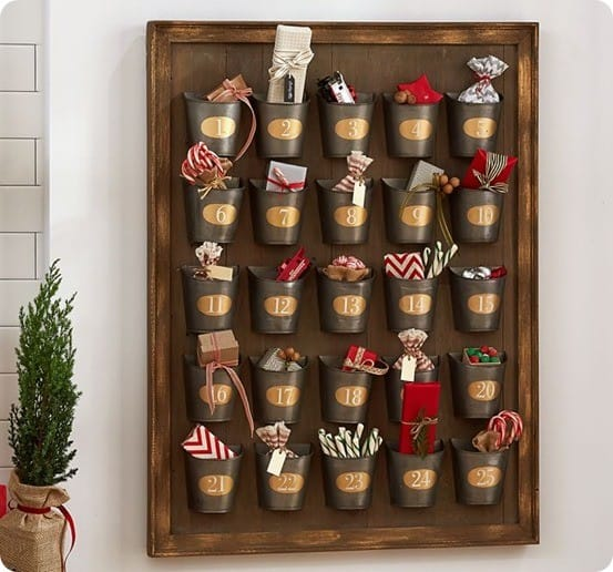 Pottery Barn's Gilt Galvanized Advent Calendar