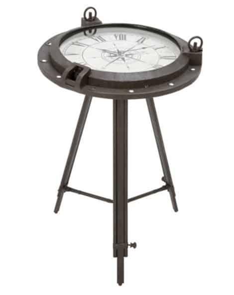 Urban Designs Industrial Porthole Metal Round Clock Table